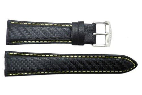 Genuine Citizen Black Leather With Yellow Stitching Carbon Fiber Style 22mm Watch Strap