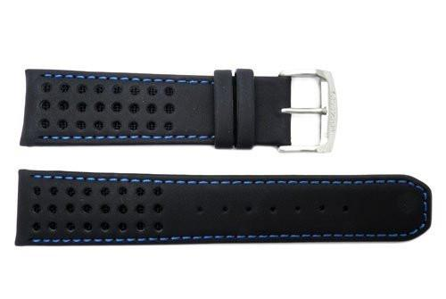 Genuine Citizen Eco Drive Black Leather With Blue Nylon 22mm Watch Strap