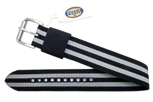Fossil Defender Series Black With Gray Stripe Nylon 20mm Watch Strap