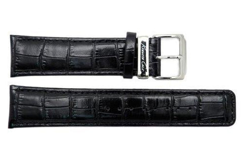 Genuine Kenneth Cole Black Alligator Grain 22mm Leather Watch Band