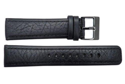 Genuine Kenneth Cole Black 22mm Textured Leather Square Tip Watch Strap