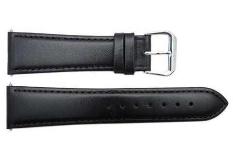 Smooth Black Genuine Leather 22mm Watch Band