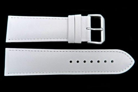 Smooth White Genuine Leather 24mm Watch Band