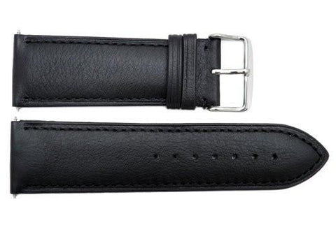Genuine Smooth Black Leather 26mm Watch Band