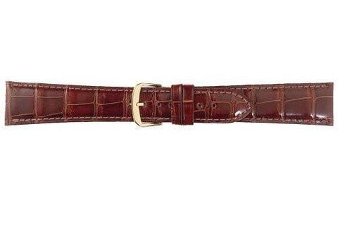 Hadley Roma Genuine Shiny Alligator Cartier Style Tan Watch Band