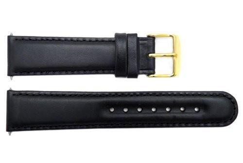Smooth Black Genuine Leather 18mm Round Tip Watch Band