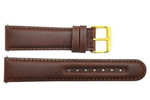 Smooth Brown Genuine Leather 20mm Round Tip Watch Band