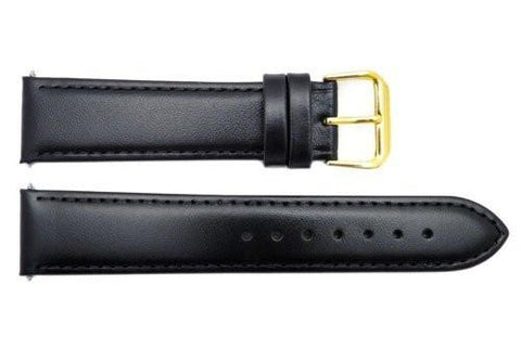 Smooth Black Genuine Leather 20mm Watch Band
