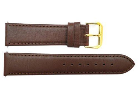 Smooth Brown Genuine Leather 20mm Watch Band