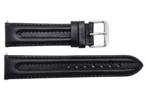 Smooth Double Stitched Black Genuine Leather 20mm Watch Band