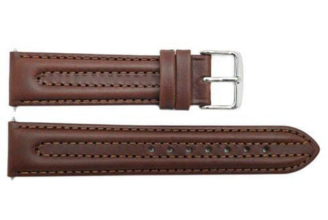 Smooth Double Stitched Brown Genuine Leather 20mm Watch Band