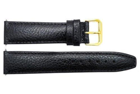Genuine Smooth Black Leather 20mm Watch Band