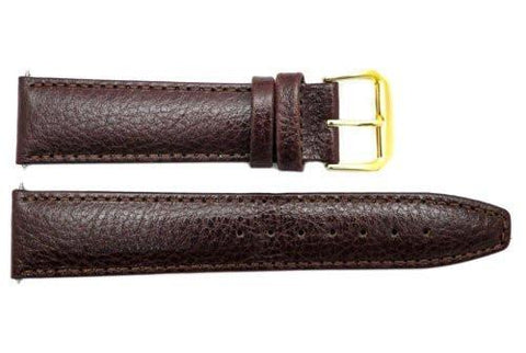 Genuine Smooth Brown Leather 20mm Watch Band