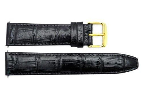 Genuine Leather Black Textured Crocodile Grain 20mm Watch Band