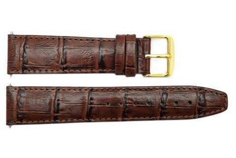 Genuine Leather Brown Textured Crocodile Grain 20mm Watch Band
