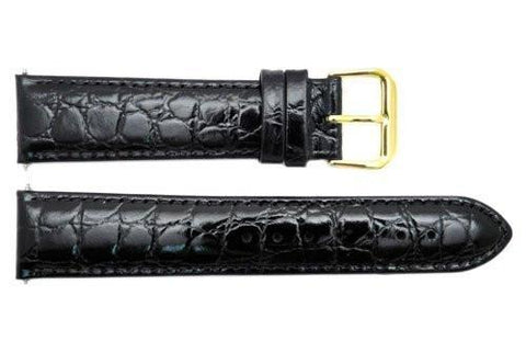Genuine Leather Black Semi Gloss Crocodile Grain 20mm Watch Band
