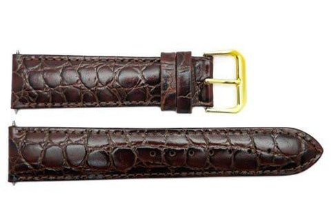 Genuine Leather Brown Semi Gloss Crocodile Grain 20mm Watch Band