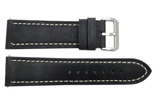 Smooth Black Genuine Leather With White Stitching 24mm Watch Band