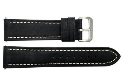 Smooth Black Genuine Leather With White Stitching 22mm Watch Band