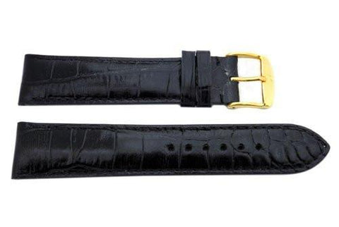 ZRC Genuine Handmade Calfskin Crocodile Grain Black Leather Watch Strap