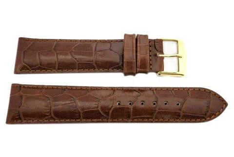 ZRC Genuine Handmade Calfskin Crocodile Grain Tan Leather Watch Strap