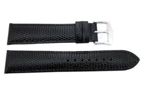 ZRC Genuine Calfskin Lizard Grain Black Leather Watch Strap