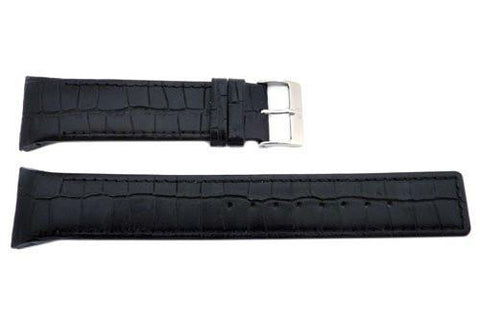 Genuine Skagen Black Crocodile Grain 25mm Leather Watch Strap - Pins