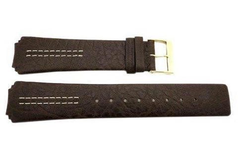 Genuine Skagen Dark Brown Textured Leather 21mm Watch Strap - Screws