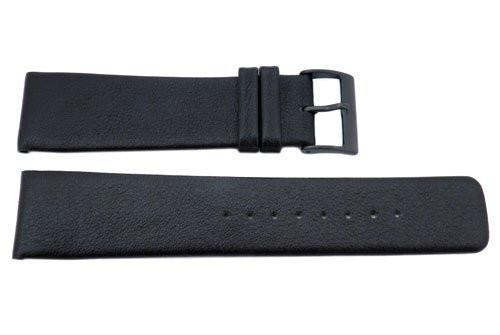 Genuine Skagen Black Smooth Leather 22mm Watch Strap - Pins
