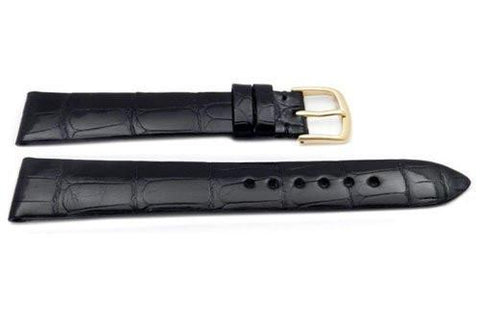 Hadley Roma Black Glossy Patek Style Genuine Alligator Leather Watch Strap