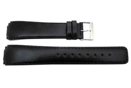 Genuine Skagen Black Smooth Leather 19mm Watch Strap - Screws