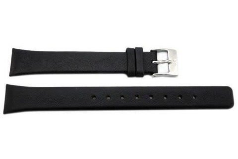 Genuine Skagen Ladies Black Textured Leather 15mm Watch Strap - Screws