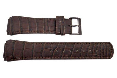 Genuine Skagen Dark Brown Textured Leather 25mm Watch Strap - Screws