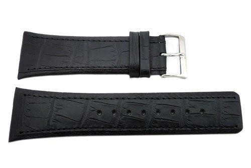 Genuine Skagen Black Textured Leather 28mm Watch Strap - Screws