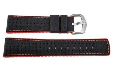 Hirsch Robby - Black And Red Genuine Calfleather And Premium Caoutchouc Watch Strap
