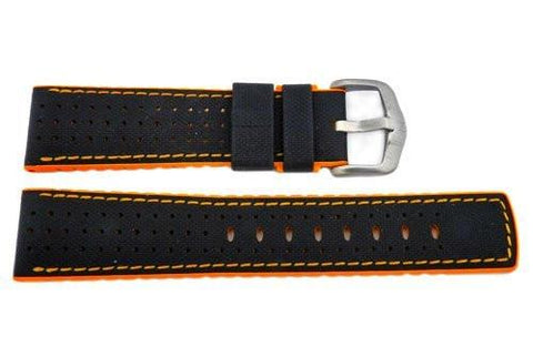 Hirsch Robby - Black And Orange Genuine Calfleather And Premium Caoutchouc Watch Strap