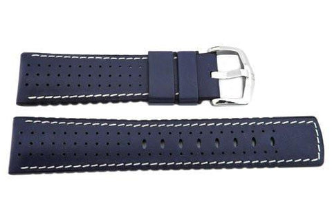 Hirsch Tiger - Blue Genuine Calfleather And Premium Caoutchouc Watch Strap