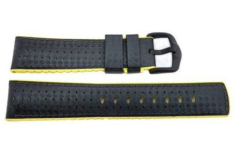 Hirsch Ayrton - Black And Yellow Carbon Structured Genuine Calfleather And Premium Caoutchouc Watch Strap