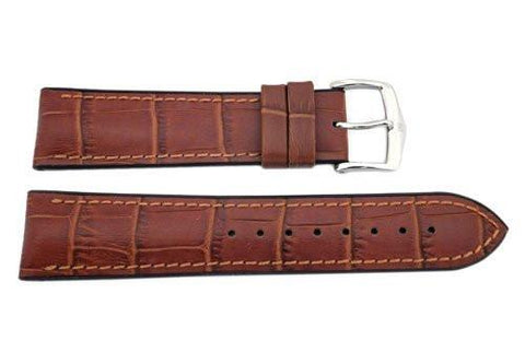 Hirsch Paul - Gold Brown Genuine Calfleather Alligator Grain Watch Strap