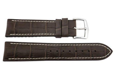 Hirsch George - Brown Genuine Calfleather Alligator Grain Watch Strap