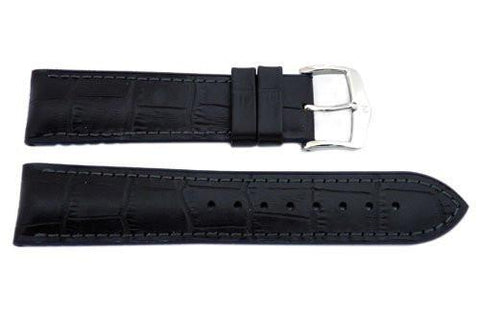 Hirsch Andy - Black And Blue Genuine Calfleather Alligator Grain Watch Strap