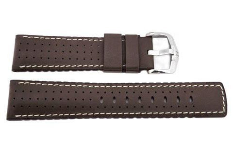 Hirsch Tiger - Brown Genuine Calfleather And Premium Caoutchouc Watch Strap