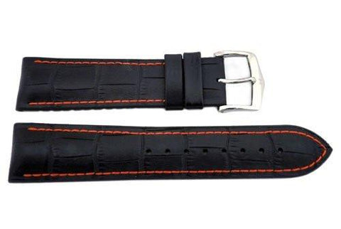 Hirsch George - Black And Red Genuine Calfleather Alligator Grain Watch Strap