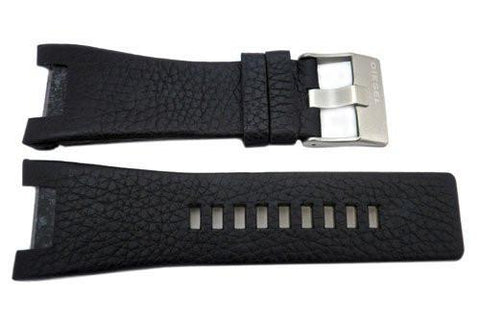 Genuine Diesel Bugout Series Black Textured Leather 32mm Watch Band
