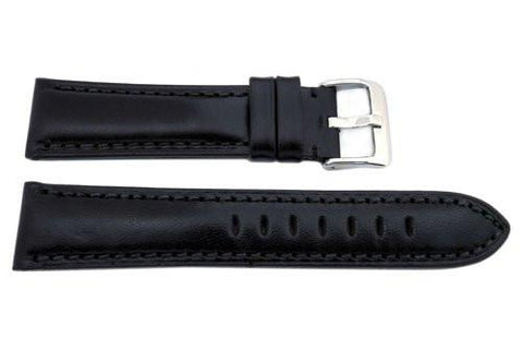 Hadley Roma Smooth Genuine Leather Heavy Padded Black Watch Strap