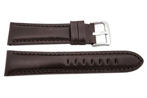 Hadley Roma Smooth Genuine Leather Heavy Padded Brown Watch Strap