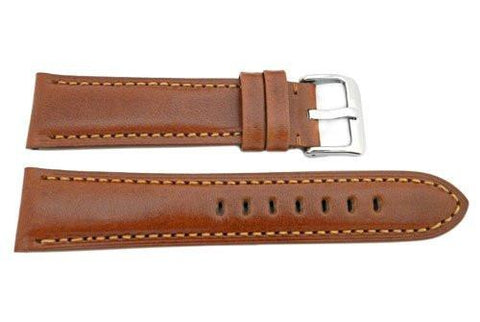Hadley Roma Smooth Genuine Leather Heavy Padded Cognac Watch Strap