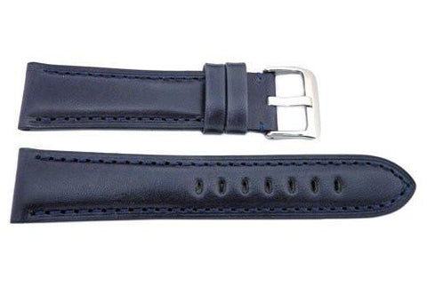 Hadley Roma Smooth Genuine Leather Heavy Padded Navy Blue Watch Strap