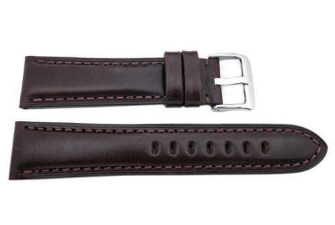Hadley Roma Smooth Genuine Leather Heavy Padded Wine Watch Strap