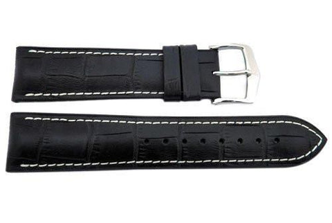 Hirsch George - Black Genuine Calfleather Alligator Grain Watch Strap